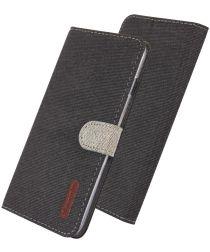 Huawei P30 Pro Soft Canvas Portemonnee Hoesje Zwart