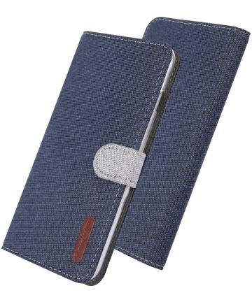 Xiaomi Redmi Note 7 Soft Canvas Portemonnee Hoesje Blauw Hoesjes