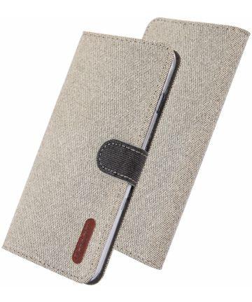 Samsung Galaxy A40 Soft Canvas Portemonnee Hoesje Khaki Hoesjes