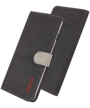Samsung Galaxy S10E Soft Canvas Portemonnee Hoesje Zwart Hoesjes
