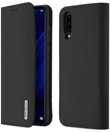 Dux Ducis Luxe Book Case Huawei P30 Hoesje Echt Leer Zwart Hoesjes