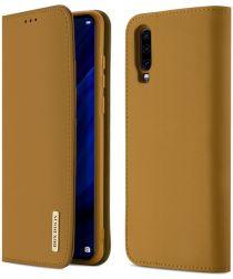 Dux Ducis Luxe Book Case Huawei P30 Hoesje Echt Leer Khaki