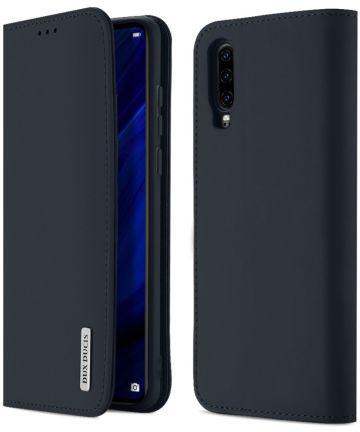 Dux Ducis Luxe Book Case Huawei P30 Hoesje Echt Leer Blauw