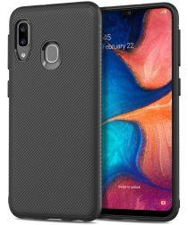 Samsung Galaxy A20E Twill Slim Texture Backcover Zwart