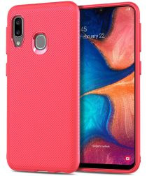 Samsung Galaxy A20E Twill Slim Texture Backcover Rood