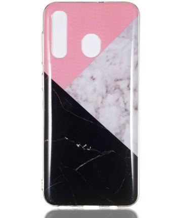 Samsung Galaxy A50 Hoesje TPU Back Cover met Marmer Print Roze Zwart Hoesjes