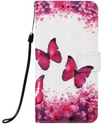 Samsung Galaxy A50 Book Case Hoesje Wallet met Vlinder Print