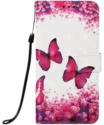 Samsung Galaxy A50 Book Case Hoesje Wallet met Vlinder Print Hoesjes