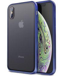 Apple iPhone XS / X Hoesje Transparant Hybride Back Cover Zwart/Blauw