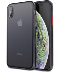 Apple iPhone XS / X Hoesje Transparant Hybride Back Cover Zwart