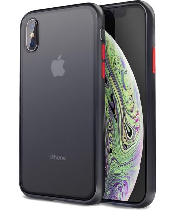 Apple iPhone XS / X Hoesje Transparant Hybride Back Cover Zwart Hoesjes