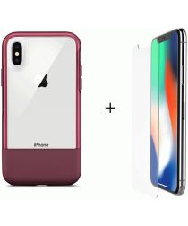 Otterbox Duo Case iPhone X / XS Hoesje + Alpha Glass Rood