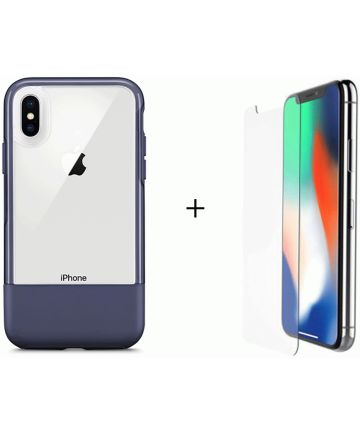 Otterbox Duo Case iPhone X / XS Hoesje + Alpha Glass Navy Blue