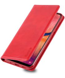AZNS Retro Samsung Galaxy A40 Portemonnee Stand Hoesje Rood