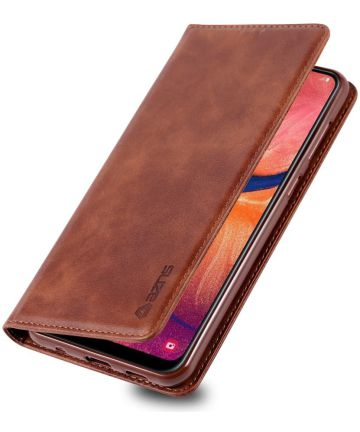 AZNS Retro Samsung Galaxy A40 Portemonnee Stand Hoesje Donkerbruin Hoesjes