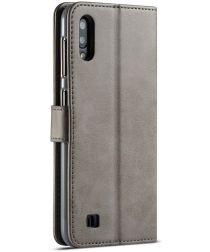 Samsung Galaxy A10 Stijlvol Vintage Portemonnee Bookcase Hoesje Grijs