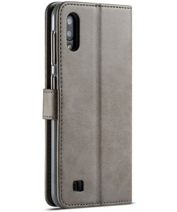 Samsung Galaxy A10 Stijlvol Vintage Portemonnee Bookcase Hoesje Grijs Hoesjes