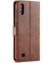 Samsung Galaxy A10 Stijlvol Vintage Portemonnee Hoesje Donkerbruin
