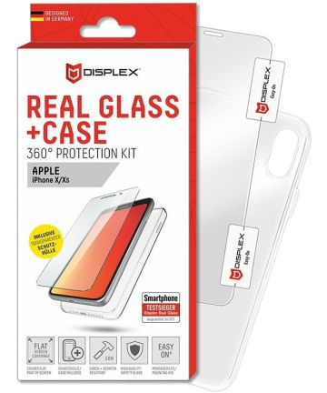 Displex 2D Real Glass + Case Apple iPhone XS / X 360° Protection Kit