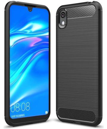 Huawei Y5 (2019) Geborsteld TPU Hoesje Zwart