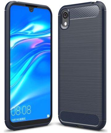 Huawei Y5 (2019) Geborsteld TPU Hoesje Blauw