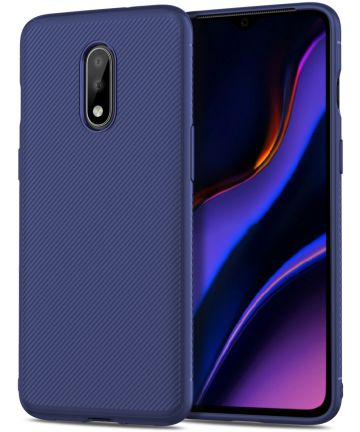 OnePlus 7 Twill Slim Texture Back Cover Blauw Hoesjes