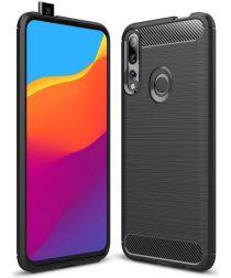 Huawei P Smart Z Geborsteld TPU Hoesje Zwart
