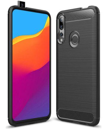 Huawei P Smart Z Geborsteld TPU Hoesje Zwart Hoesjes