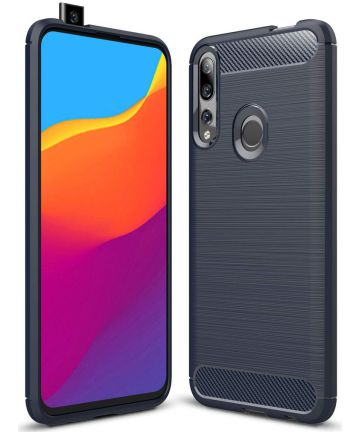 Huawei P Smart Z Geborsteld TPU Hoesje Blauw Hoesjes