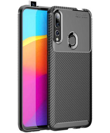 Huawei P Smart Z Siliconen Carbon Hoesje Zwart Hoesjes