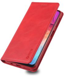AZNS Samsung Galaxy A70 Portemonnee Stand Hoesje Rood