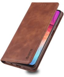 AZNS Samsung Galaxy A70 Portemonnee Stand Hoesje Coffee
