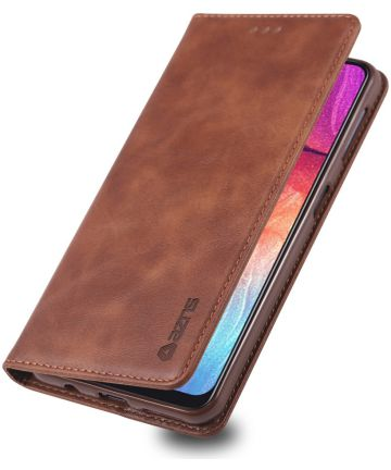 AZNS Samsung Galaxy A70 Portemonnee Stand Hoesje Coffee Hoesjes