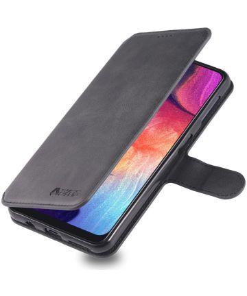 AZNS Samsung Galaxy A70 Wallet Stand Hoesje Zwart Hoesjes