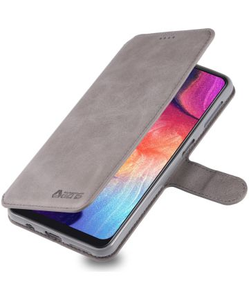 AZNS Samsung Galaxy A70 Wallet Stand Hoesje Grijs Hoesjes