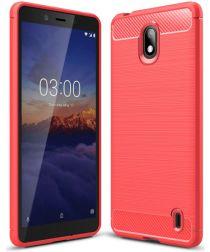 Nokia 1 Plus Geborsteld TPU Hoesje Rood
