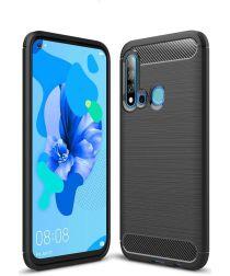 Huawei P20 Lite (2019) Geborsteld TPU Hoesje Zwart