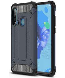 Huawei P20 Lite (2019) Hybride Hoesje Donker Blauw
