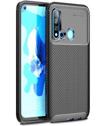Huawei P20 Lite (2019) Siliconen Carbon Hoesje Zwart