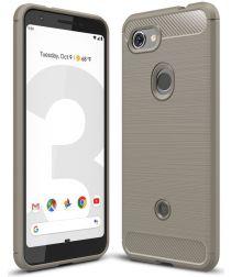 Google Pixel 3A Geborsteld TPU Hoesje Grijs