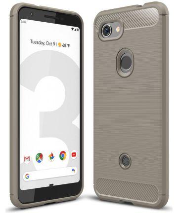 Google Pixel 3A Geborsteld TPU Hoesje Grijs Hoesjes