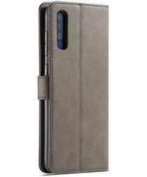 Samsung Galaxy A50 Book Case Hoesje Stijlvol Wallet Kunst Leer Grijs