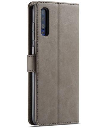 Samsung Galaxy A50 Book Case Hoesje Stijlvol Wallet Kunst Leer Grijs Hoesjes