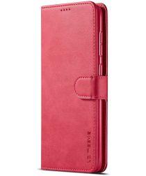 Samsung Galaxy A50 Book Case Hoesje Stijlvol Wallet Kunst Leer Rood