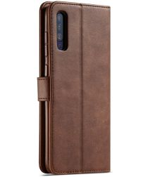Samsung Galaxy A50 Book Case Hoesje Stijlvol Wallet Kunst Leer Bruin
