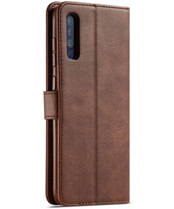 Samsung Galaxy A50 Book Case Hoesje Stijlvol Wallet Kunst Leer Bruin Hoesjes