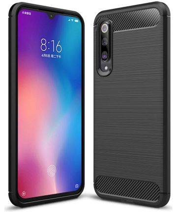 Xiaomi Mi 9 SE Geborsteld TPU Hoesje Zwart Hoesjes