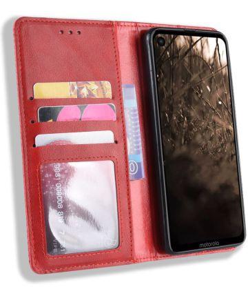 Motorola One Vision Portemonnee Hoesje met Standaard Functie Rood Hoesjes