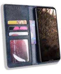 Motorola One Vision Portemonnee Hoesje met Standaard Functie Blauw