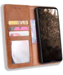 Motorola One Vision Portemonnee Hoesje met Standaard Functie Bruin